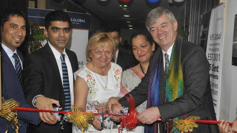 Czech Republic ambassador Milan Hovoka inaugurating the visa application centre in Chandigarh on Wednesday.