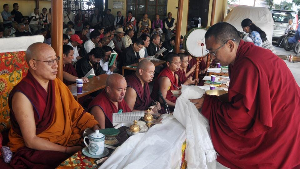 Tibetan Buddhist Monks during a special morning-prayer session on the occasion of 82nd birthday of Dalai Lama at a monastery in Mcleodganj, near Dharamsala on Thursday. (Shyam Sharma/HT Photo)