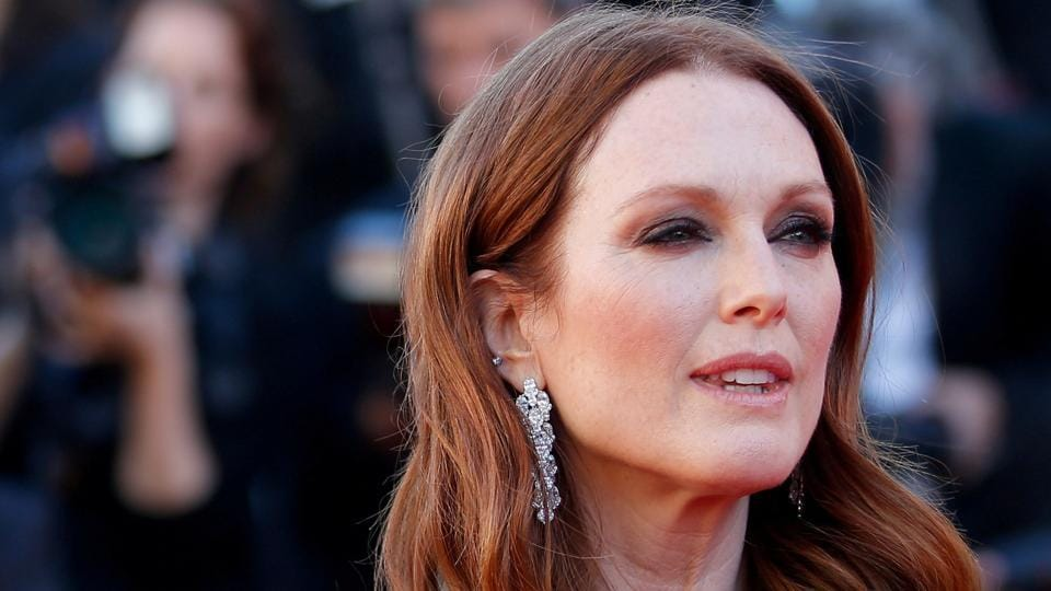 Julianne Moore poses at the 70th Cannes Film Festival for screening of the film Okja during red carpet arrivals.