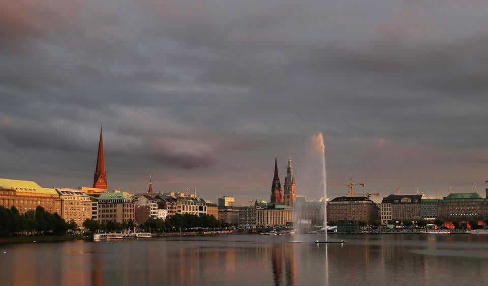 A fountain sprays on the Binnenalster lake in central Hamburg, northern Germany, Wednesday, July 5, 2017, ahead of the G-20 summit. The leaders of the group of 20 meet July 7 and 8.
