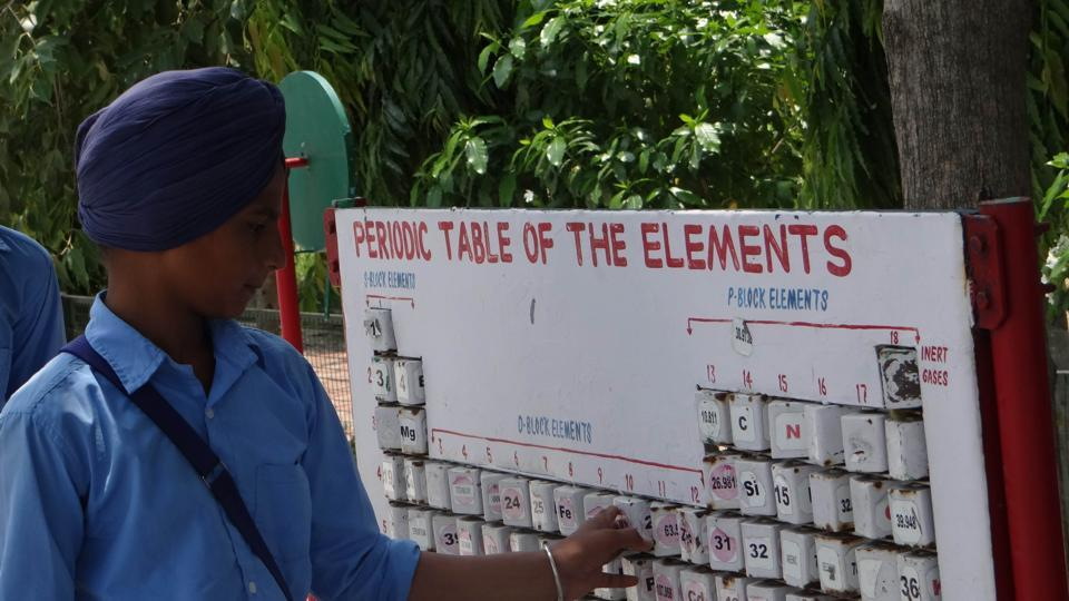A student looks at a teaching tool for the periodic table of elements, installed in the science park at the school in Khosa Pando.