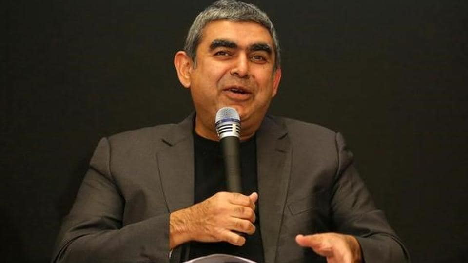 Infosys CEO Vishal Sikka speaks with the media during the announcement of the company's quarter results at its headquarters in Bengaluru, April 13, 2017.
