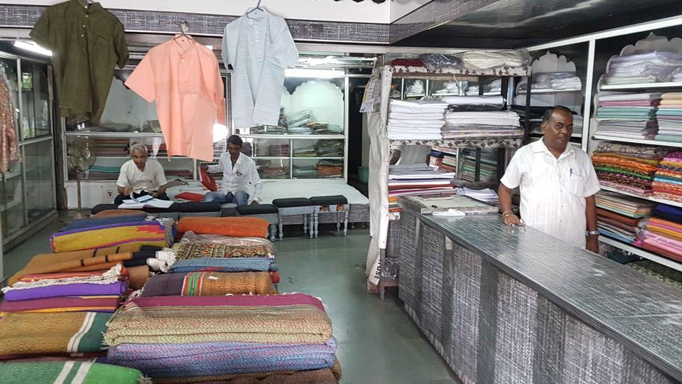 A Khadi shop without customers in Kota on Friday.