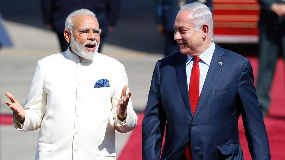Prime Minister Narendra Modi and Israeli Prime Minister Benjamin Netanyahu, Ben-Gurion International Airport, Tel Aviv, Israel, July 4