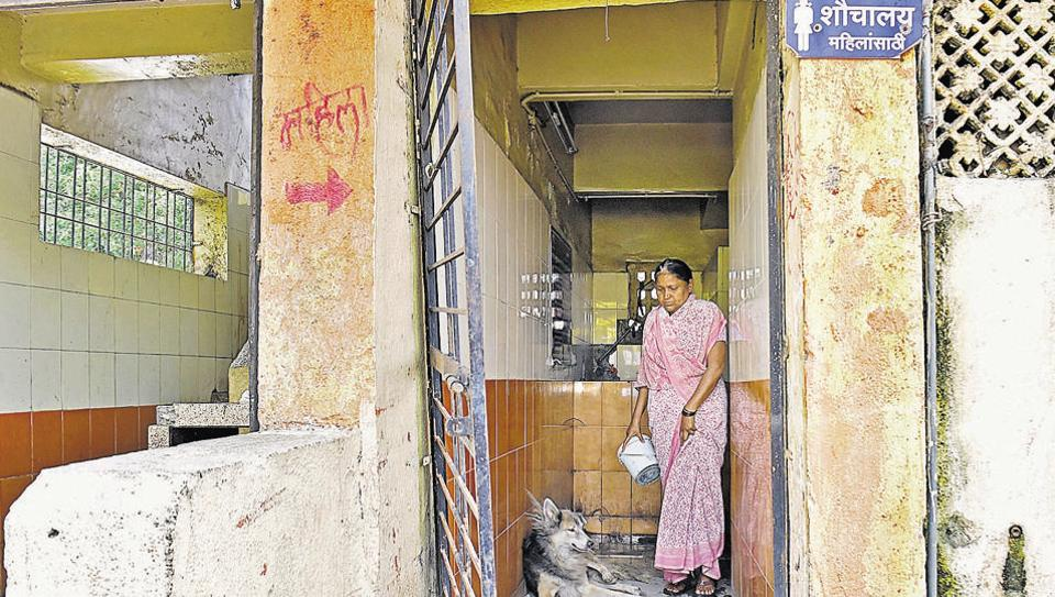The ladies toilet at Juna Bazar is in a miserable state. Many of the city's toilets for women lack basic amenities such as proper door latches.
