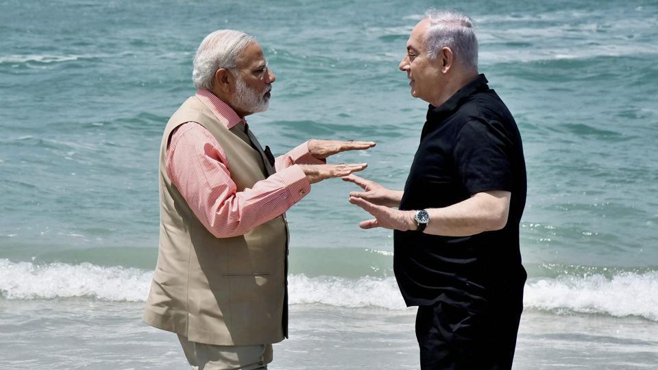 Olga Beach: Prime Minister Narendra Modi with his Israeli counterpart Benjamin Netanyahu at the Olga Beach in Israel on Thursday.
