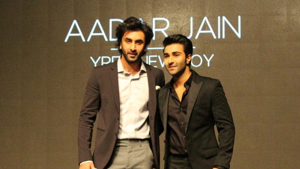 Ranbir Kapoor with his cousin Aadar Jain during a YRF programme in Mumbai.