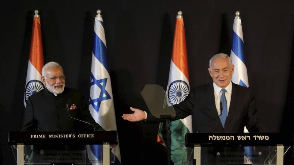 Jerusalem : Indian Prime Minister Narendra Modi, left, listens as Israeli Prime Minister Benjamin Netanyahu speaks during their meeting at the King David hotel in Jerusalem, Wednesday, July 5, 2017.