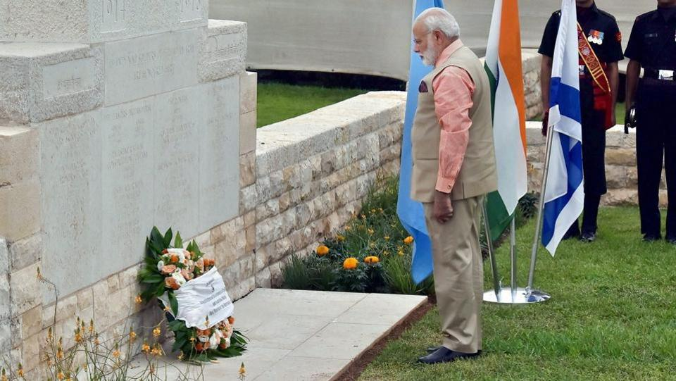 Prime Minister Narendra Modi laid a wreath at the Indian cemetery in Haifa, Israel on the third day of his visit, commemorating Indian soldiers who laid down their lives during the liberation of Haifa in 1918. (PTI)