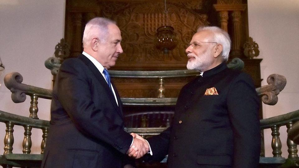 Prime Minister Narendra Modi and his counterpart from Israel Benjamin Netanyahu during their visit to Israeli museum to witness an exhibition on India-Jewish Heritage, in Jerusalem.