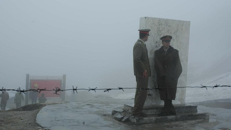 Chinese soldiers at Nathu La (pass) in Sikkim.
