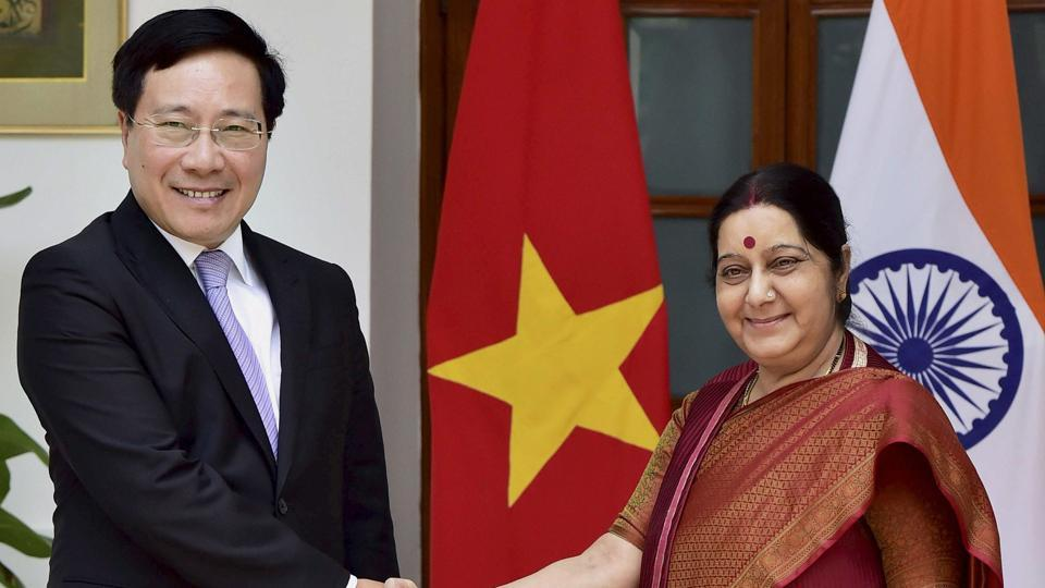 External Affairs Minister Sushma Swaraj shakes hand with Vietnam's Deputy Prime Minister and Minister of Foreign Affairs Pham Binh Minh ahead of a meeting in New Delhi on July 4, 2017.