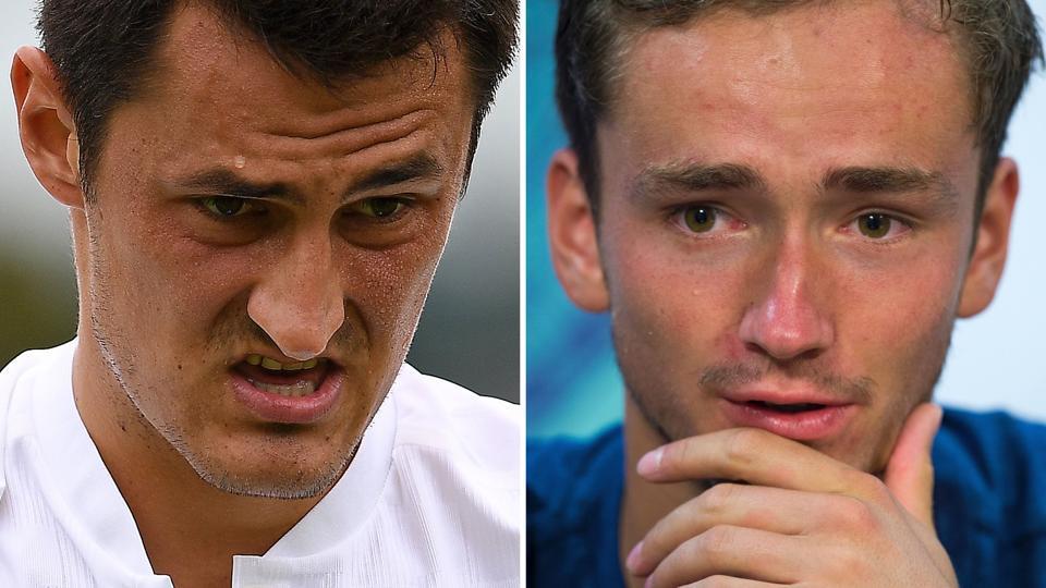 Bernard Tomic (L) and Daniil Medvedev (R) have been fined for