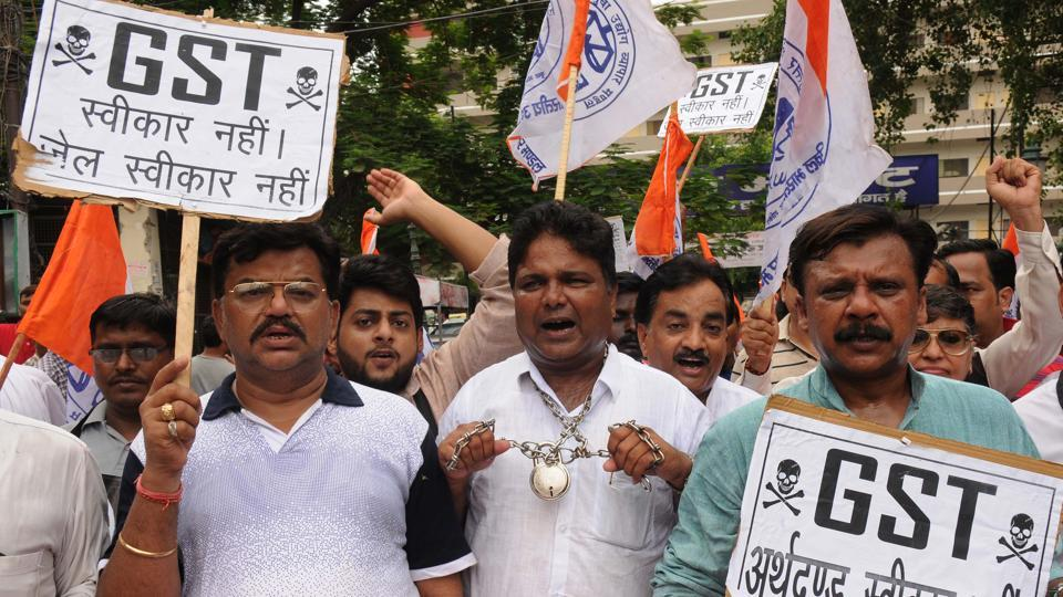Traders protest against GST in Lucknow on June 30.