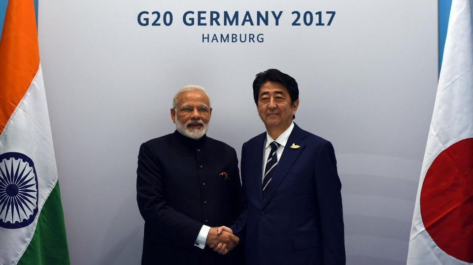 PM Narendra Modi meets PM Shinzo Abe on sidelines of G20 Summit.