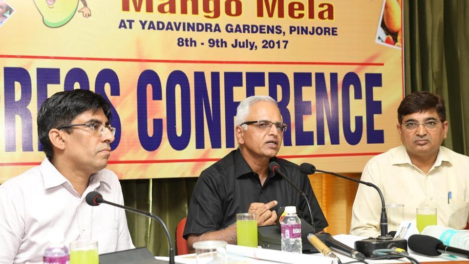 Haryana additional chief secretary, tourism, VS Kundu (left) addressing a press conference in Panchkula on Thursday.