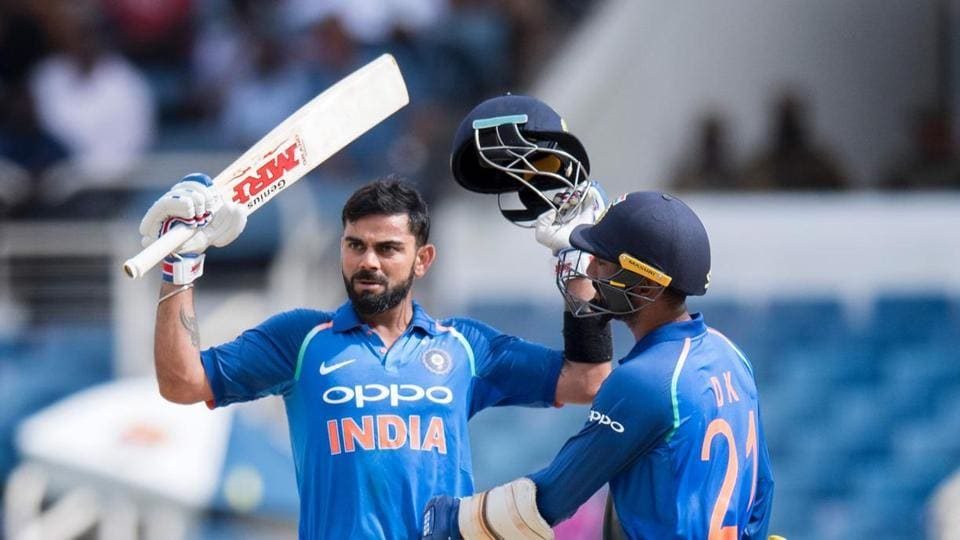 Virat Kohli (L) scored a calculated century as India romped to an eight wicket win against West Indies in the 5th ODI to seal a 3-1 series win. Watch India vs West Indies match highlights here.