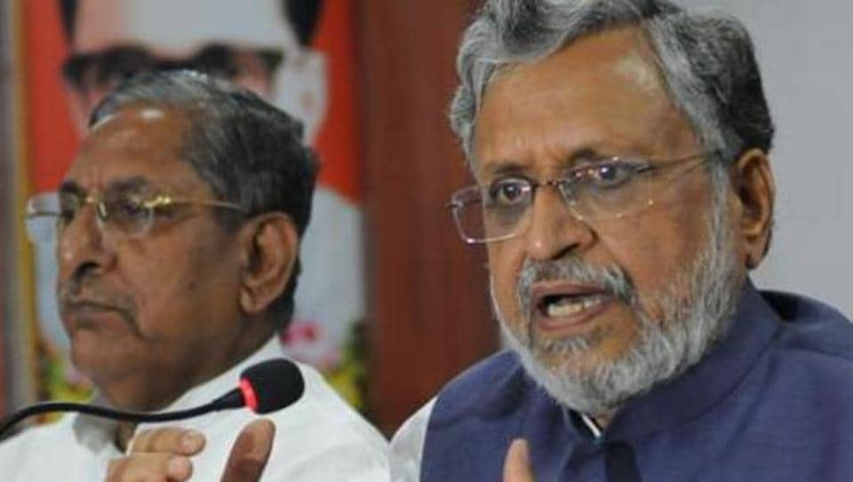 BJP leader Sushil Modi speaking to media persons in Patna on Friday.