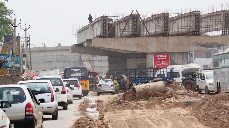 The flyover under construction at Banur on the ZirakpurPatiala highway. The project includes 12 bridges, including 700m Bahadurgarh flyover, underpasses and railway overbridges.