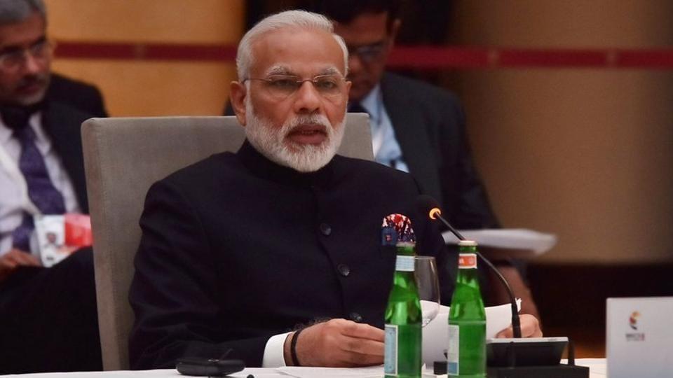 PM Narendra Modi speaks at BRICS meeting on sidelines of G20 Summit in Hamburg on July 7, 2017.