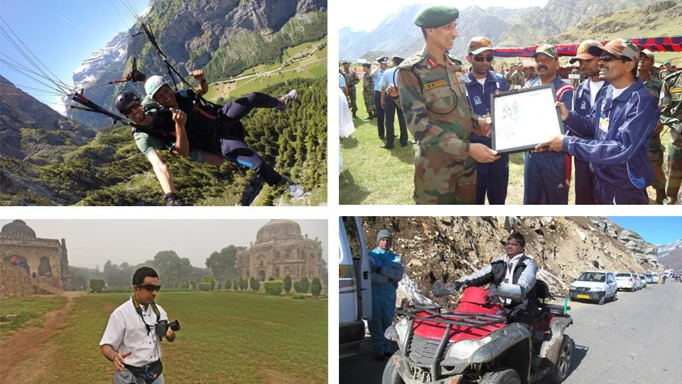 (Clockwise from top left) Ekinath Khedekar went paragliding during a trip to Amsterdam. Satish Navale met Indian soldiers at a Kargil base camp. Joaquim Rapose poses on a mountain bike in Himachal Pradesh. And Delhiite Pranav Lal, who has travelled everywhere from Uttarakhand to Iceland, taking photos with an 'artificial eye' sensory substitution device at Lodhi Gardens.