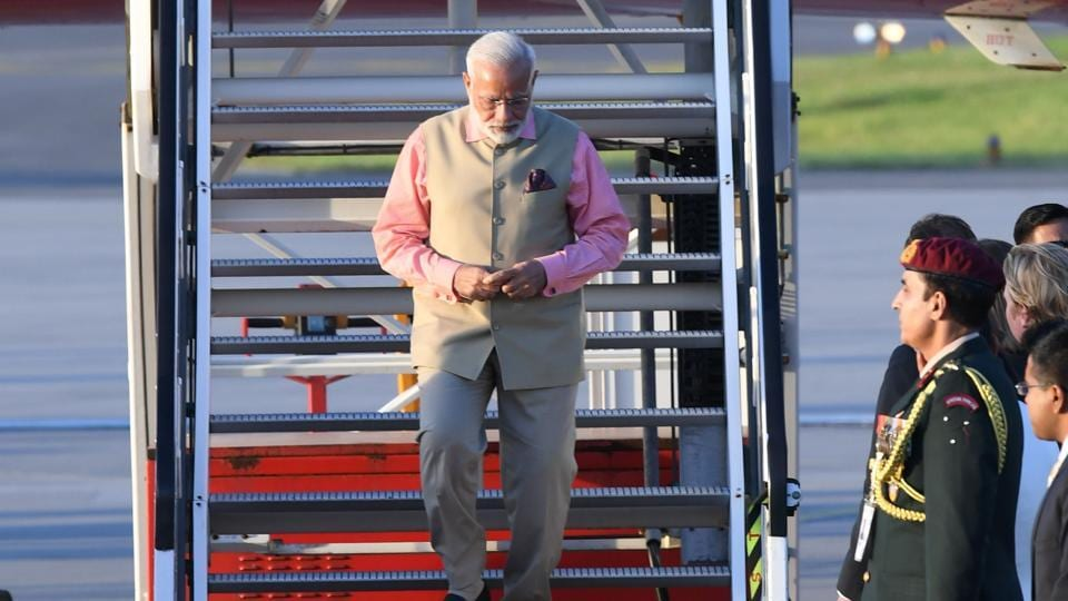 PMNarendra Modi arrives at the airport in Hamburg, northern Germany, to attend the G20 summit.