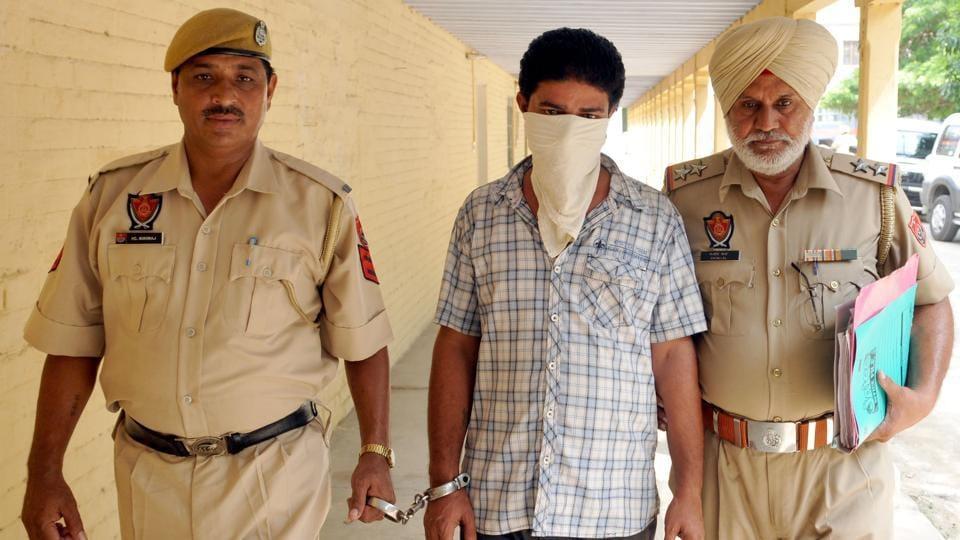 The accused in police custody in Jalandhar.