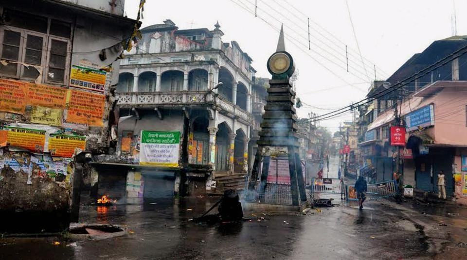 A view of a street after Morcha supporters clashed with the security personnel at Kalimpong in West Bengal. (PTI)