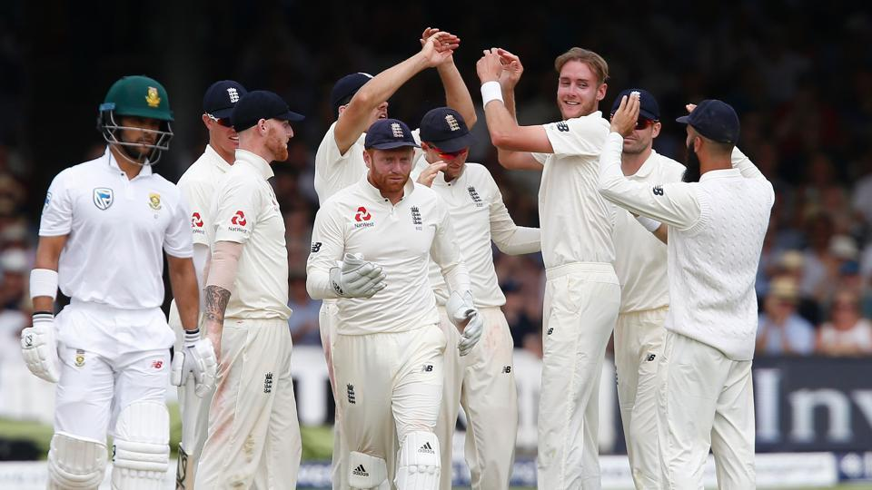 Stuart Broad and Moeen Ali picked up two wickets apiece as South Africa ended day 2 on 214/5, still trailing England (458) by 244 runs. Get full cricket score of England vs South Africa Lord's Test here.