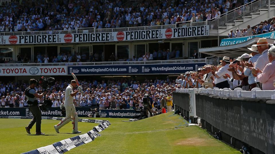 England's captain Joe Root leaves the field after losing his wicket for 190 runs on the second day of the first Test match between England and South Africa at Lord's on Friday.