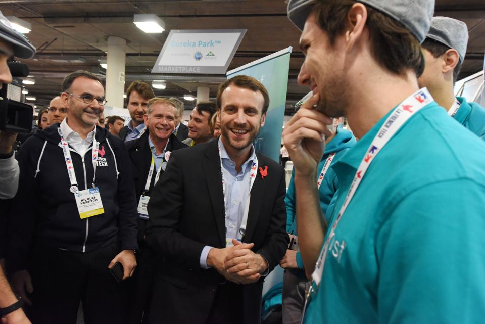 This file photo taken on January 7, 2016 shows then French economy minister Emmanuel Macron at the CES 2016 consumer electronics show in Las Vegas, Nevada.