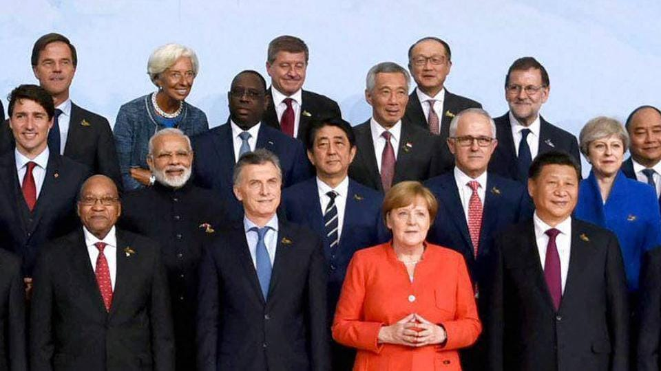 Prime Minister Narendra Modi with German Chancellor Angela Merkel and other leaders during the family photo at G-20 Summit in Hamburg, Germany on July 7, 2017.