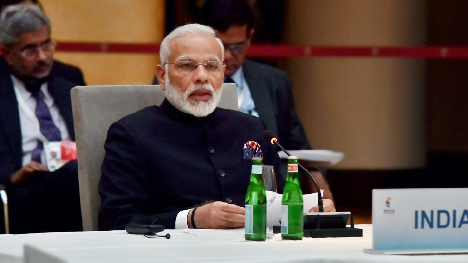 Prime Minister Narendra Modi speaks at the G20 summit in Hamburg, Germany, on Friday.