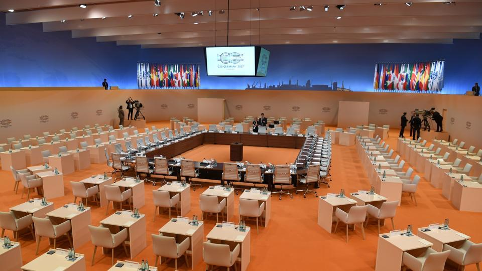 Preparations are under way at the plenary hall of the G20 summit in Hamburg, northern Germany.  (AFP)