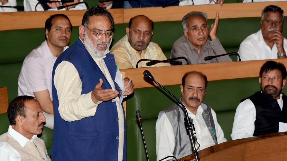 Jammu and Kashmir finance minister Haseeb Drabu addresses to pass the state GST bill on the last day of special session of legislative assembly in Srinagar on Friday.