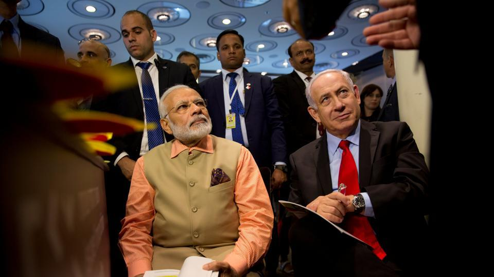Prime Minister Narendra Modi and Israeli Prime Minister Benjamin Netanyahu attend an innovation conference with Israeli and Indian CEOs, Tel Aviv, Israel, July 6