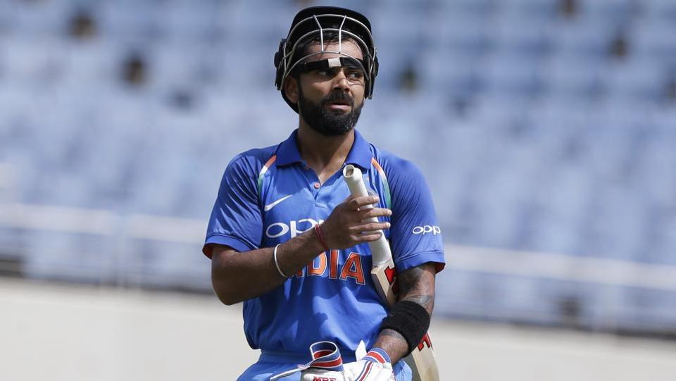 Indian  captain Virat Kohli gestures after scoring half a century against West Indies during their fifth ODI at Sabina Park cricket ground in Kingston, Jamaica. (AP)
