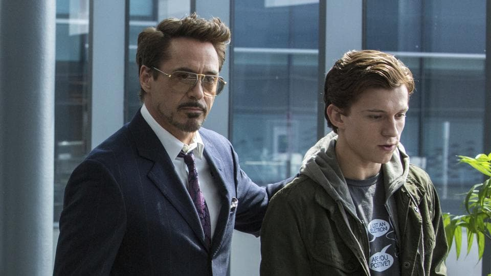 Robert Downey Jr. and Tom Holland in a scene from Spider-Man: Homecoming.