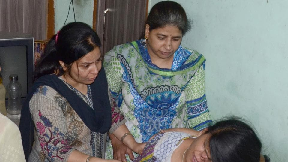 Family members of the deceased grieving in Ludhiana on Friday.