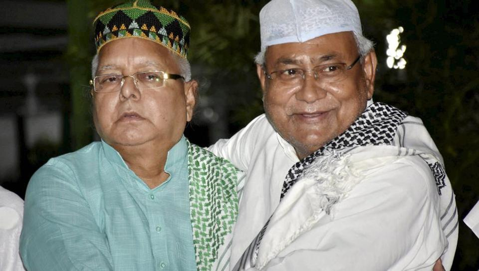 File photo of Bihar chief minister Nitish Kumar with RJD chief Lalu Prasad at a Roza-Iftaar party hosted by the latter in Patna.