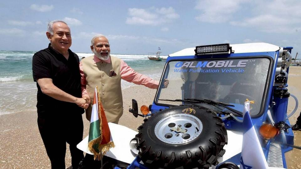 Prime Minister Narendra Modi with his Israeli counterpart Benjamin Netanyahu during a visit to the Olga Beach in Israel, July 6, 2017