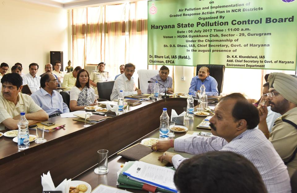 Officials of Environment Pollution Control and Prevention Authority (EPCA) at a meeting in Gurgaon on Thursday.