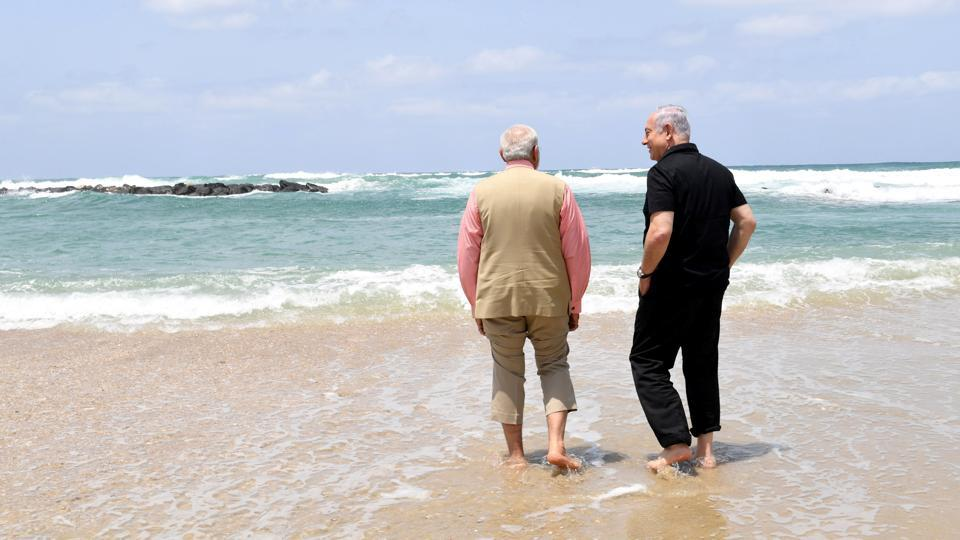 Prime Minister Narendra Modi along with his Israeli counterpart Benjamin Netanyahu on Thursday witnessed the demonstration of sea water purification technology pioneered by Israel at a water desalination unit on Olga Beach in Haifa. It can purify up to 20,000 litres per day of sea water and 80,000 litres per day of brackish/muddy or contaminated river water and bring it to WHO standards, it said. (REUTERS)