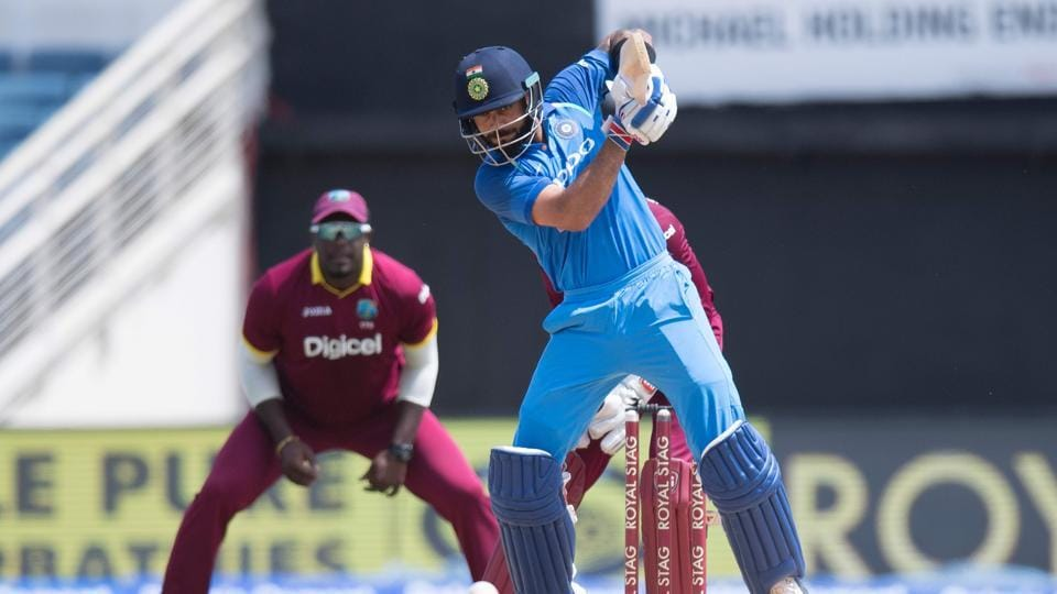 India captain Virat Kohli plays a shot during the fifth One Day International (ODI) match between West Indies and India at the Sabina Park Cricket Ground in Kingston, Jamaica.