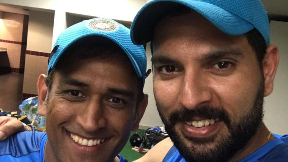 Mahendra Singh Dhoni and Yuvraj Singh share some good moments during the current limited overs tour of the West Indies. Both played big roles in winning the 2011 World Cup in India.