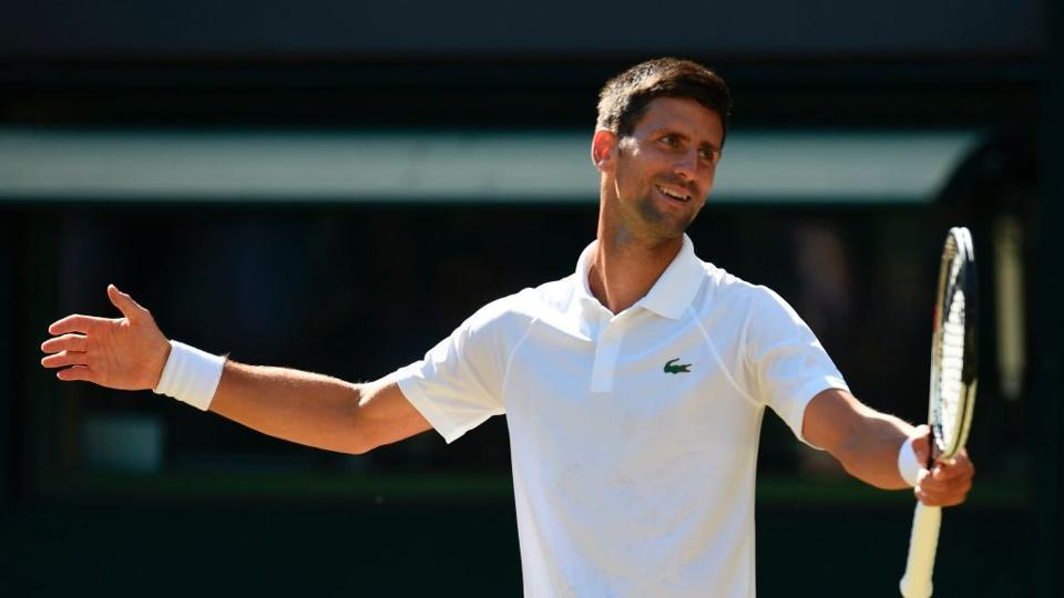 Three-time champion Novak Djokovic reached the Wimbledon fourth round for the 10th time with a 6-4, 6-1, 7-6 (7/2) win over Ernests Gulbis of Latvia. (Twitter )