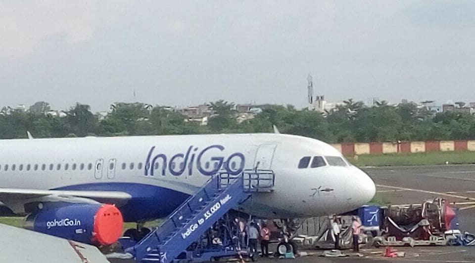 The engine of the grounded IndiGo Airbus 320 being replaced at Jay Prakash Narayan International Airport in Patna.