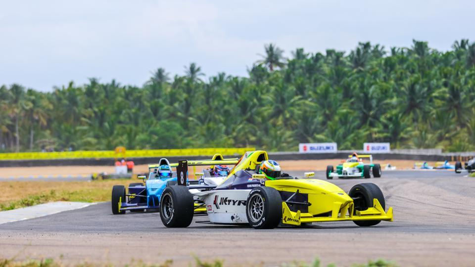 Vishnu Prasad in action at the 20th JK Tyre FMSCI National Racing Championship at the Kari Motor Speedway in Coimbatore.