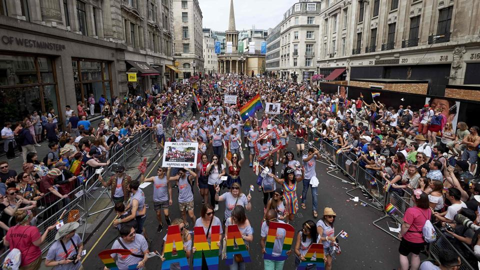 Members of the LGBT community take part in the annual Pride Parade in London on Saturday.