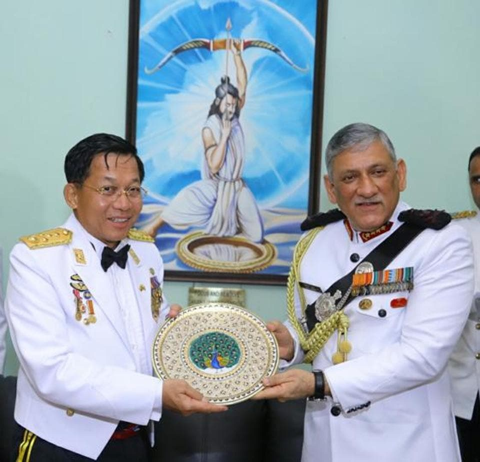 Chief of Army Staff, General Bipin Rawat, welcomes commander-in-chief, defence services, Myanmar, Senior General Min Aung Hlaing, at OTA, Gaya, on Friday.